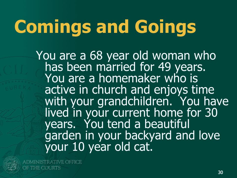 Comings and Goings You are a 68 year old woman who has been married for 49 years. You are a homemaker who is active in church and enjoys time with you
