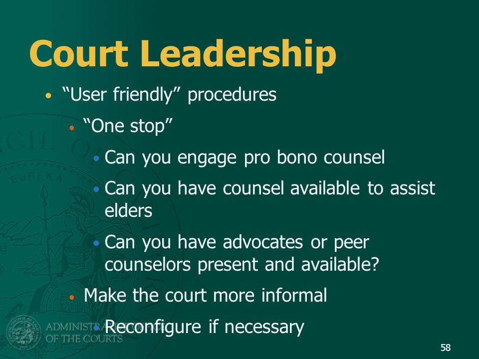 """Court Leadership """"User friendly"""" procedures """"One stop"""" Can you engage pro bono counsel Can you have counsel available to assist elders Can you have ad"""