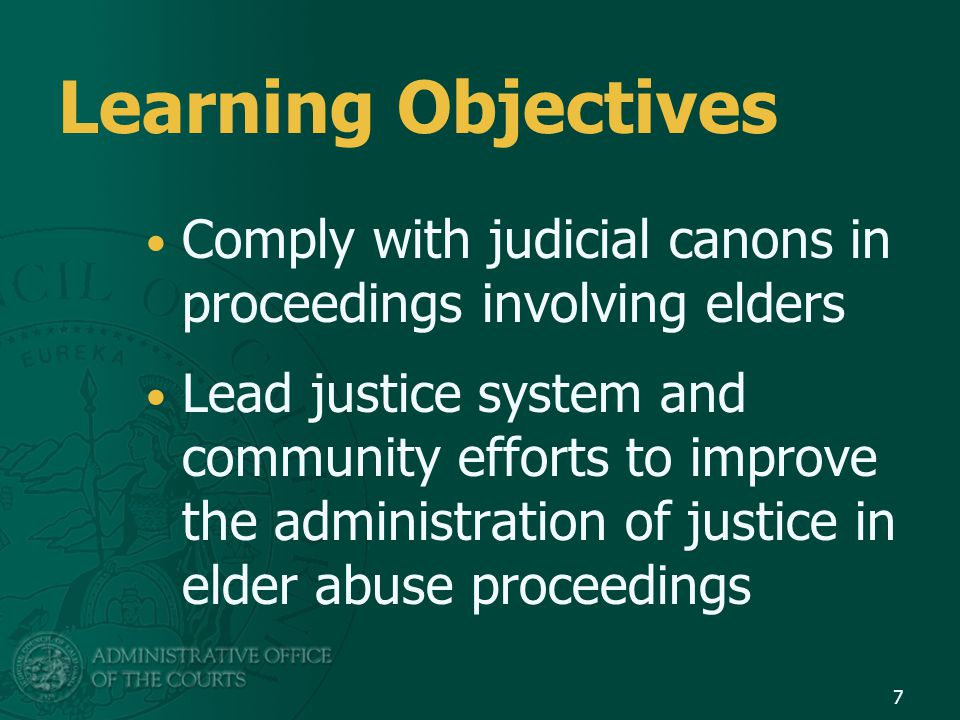 Court Leadership User friendly procedures One stop Can you engage pro bono counsel Can you have counsel available to assist elders Can you have advocates or peer counselors present and available.