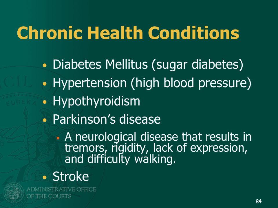Chronic Health Conditions Diabetes Mellitus (sugar diabetes) Hypertension (high blood pressure) Hypothyroidism Parkinson's disease A neurological dise