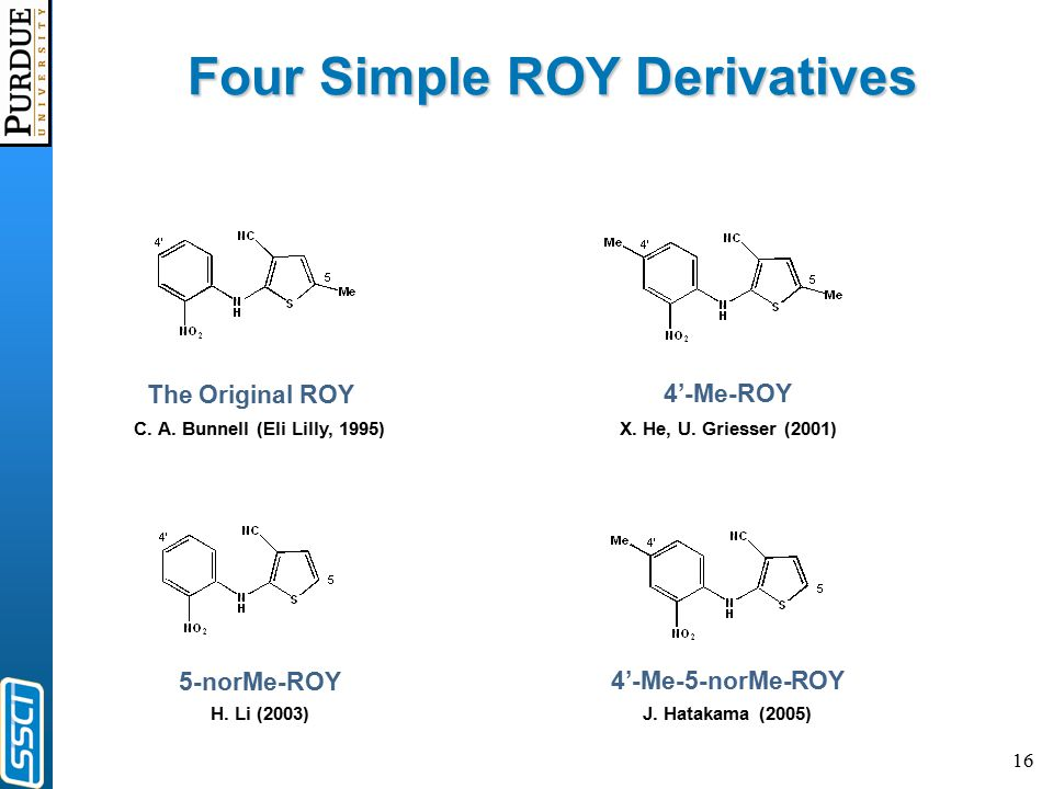 16 Four Simple ROY Derivatives C.A. Bunnell (Eli Lilly, 1995)X.