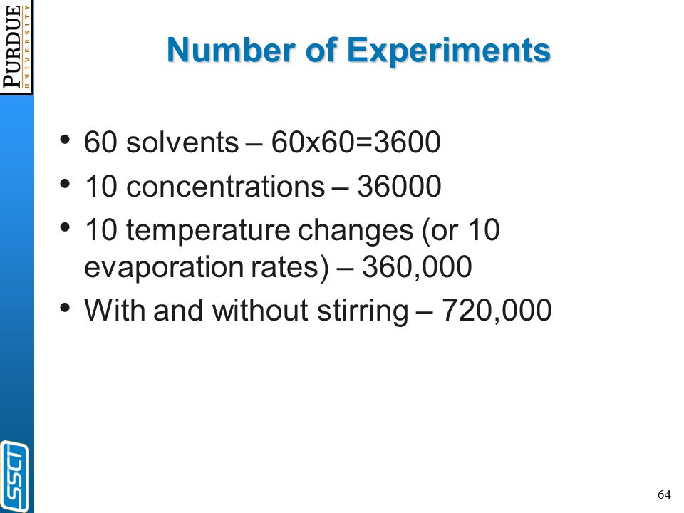 64 Number of Experiments 60 solvents – 60x60=3600 10 concentrations – 36000 10 temperature changes (or 10 evaporation rates) – 360,000 With and withou