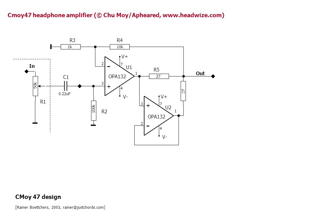 47 - + 1M In Out R2 R5 U1 OPA132 2 3 7 4 6 V+ V- Simple impedance follower pin-compatible opamp:TL072C (lower quiescent current) Impedance follower [Rainer Boettchers, 2003, rainer@justchords.com]