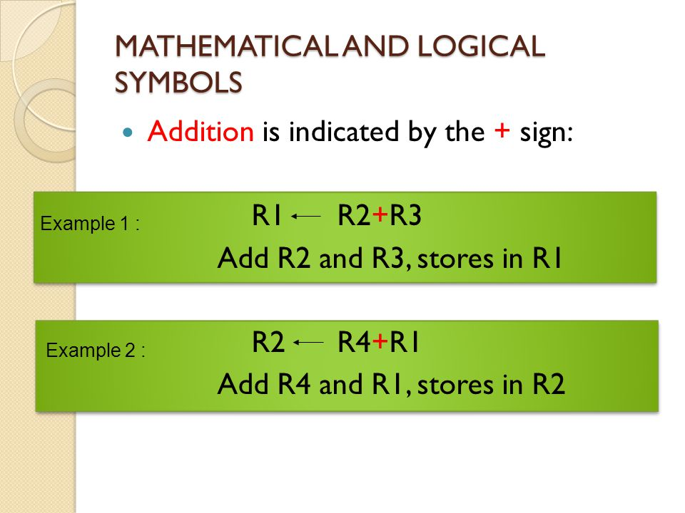 MATHEMATICAL AND LOGICAL SYMBOLS Addition is indicated by the + sign: R1 R2+R3 Add R2 and R3, stores in R1 R2 R4+R1 Add R4 and R1, stores in R2 Exampl