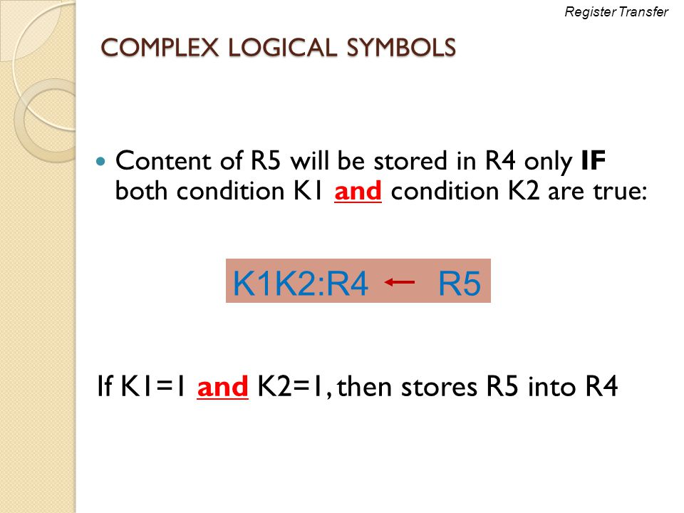 COMPLEX LOGICAL SYMBOLS Content of R5 will be stored in R4 only IF both condition K1 and condition K2 are true: K1K2:R4R5 Register Transfer If K1=1 an