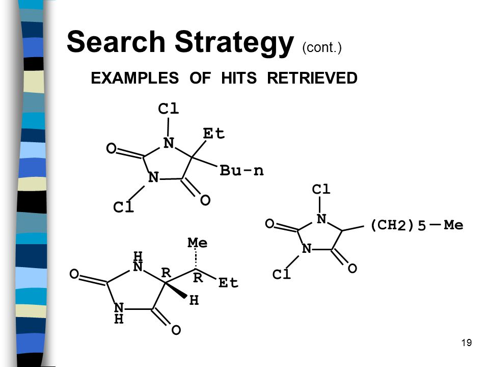 19 Bu-n Et Cl Cl N O N O Et Me N H O N H O H R R EXAMPLES OF HITS RETRIEVED (CH 2 ) 5 Me Cl Cl N O N O Search Strategy (cont.)
