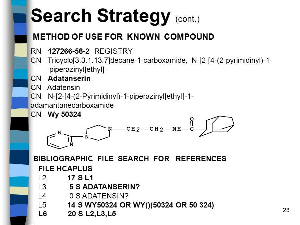 23 RN 127266-56-2 REGISTRY CN Tricyclo[3.3.1.13,7]decane-1-carboxamide, N-[2-[4-(2-pyrimidinyl)-1- piperazinyl]ethyl]- CN Adatanserin CN Adatensin CN N-[2-[4-(2-Pyrimidinyl)-1-piperazinyl]ethyl]-1- adamantanecarboxamide CN Wy 50324 CNH O CH 2 CH 2 N N N N FILE HCAPLUS L2 17 S L1 L3 5 S ADATANSERIN.