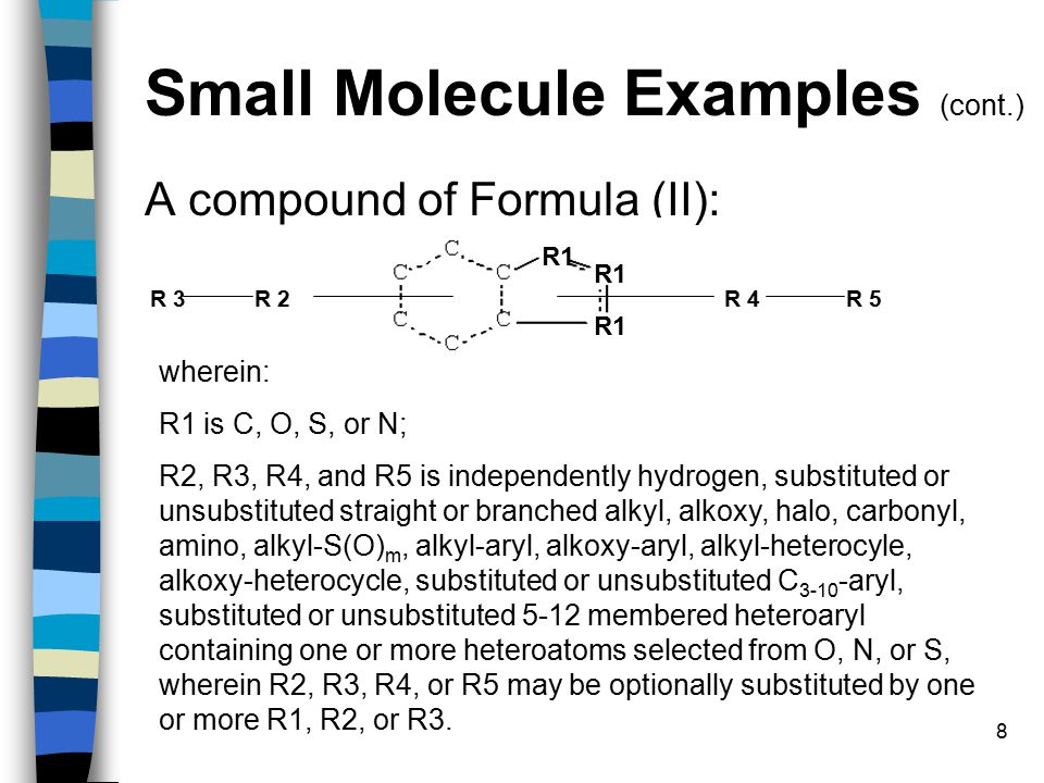 8 Small Molecule Examples (cont.) A compound of Formula (II): R1 R 2R 5R 3R 4 wherein: R1 is C, O, S, or N; R2, R3, R4, and R5 is independently hydrogen, substituted or unsubstituted straight or branched alkyl, alkoxy, halo, carbonyl, amino, alkyl-S(O) m, alkyl-aryl, alkoxy-aryl, alkyl-heterocyle, alkoxy-heterocycle, substituted or unsubstituted C 3-10 -aryl, substituted or unsubstituted 5-12 membered heteroaryl containing one or more heteroatoms selected from O, N, or S, wherein R2, R3, R4, or R5 may be optionally substituted by one or more R1, R2, or R3.