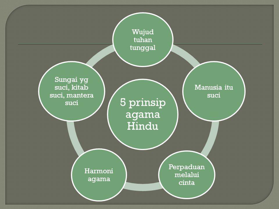 5 prinsip agama Hindu Wujud tuhan tunggal Manusia itu suci Perpaduan melalui cinta Harmoni agama Sungai yg suci, kitab suci, mantera suci