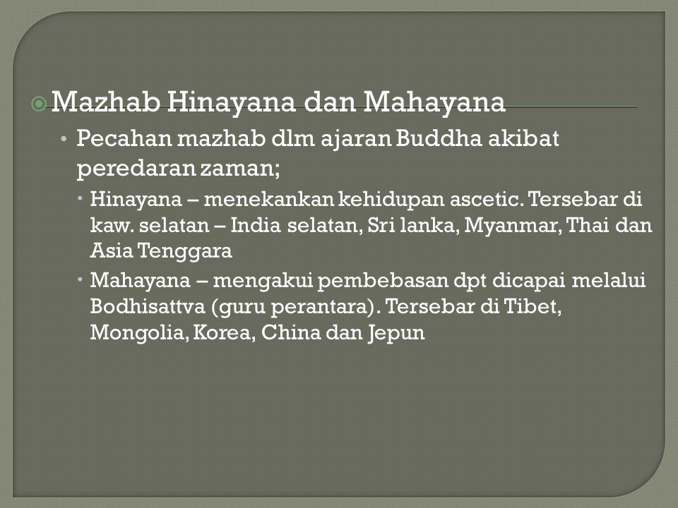  Mazhab Hinayana dan Mahayana Pecahan mazhab dlm ajaran Buddha akibat peredaran zaman;  Hinayana – menekankan kehidupan ascetic. Tersebar di kaw. se