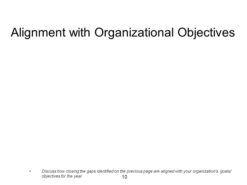 10 Alignment with Organizational Objectives Discuss how closing the gaps identified on the previous page are aligned with your organization s goals/ objectives for the year