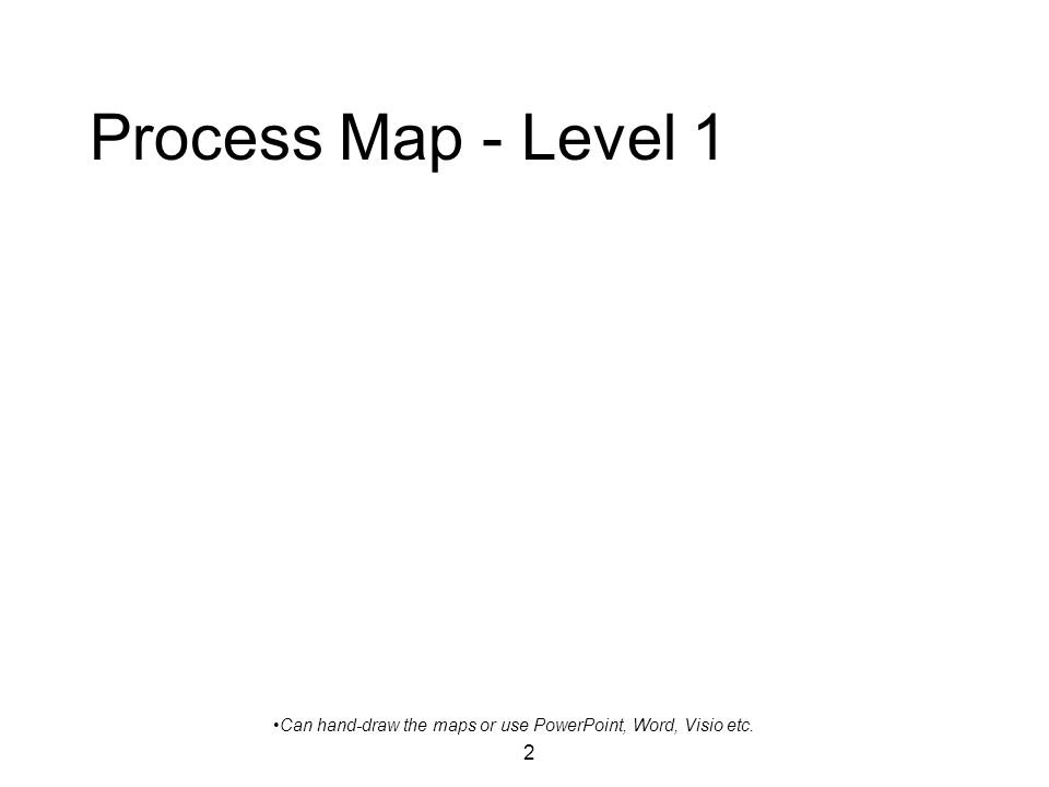 2 Process Map - Level 1 Can hand-draw the maps or use PowerPoint, Word, Visio etc.