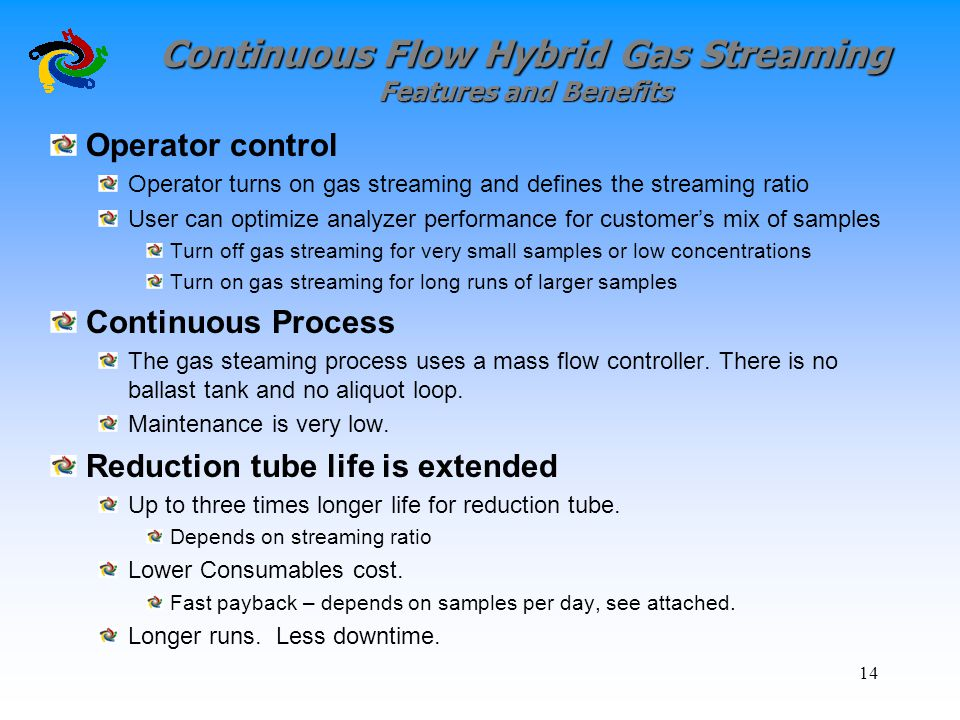 Continuous Flow Hybrid Gas Streaming Features and Benefits Operator control Operator turns on gas streaming and defines the streaming ratio User can o
