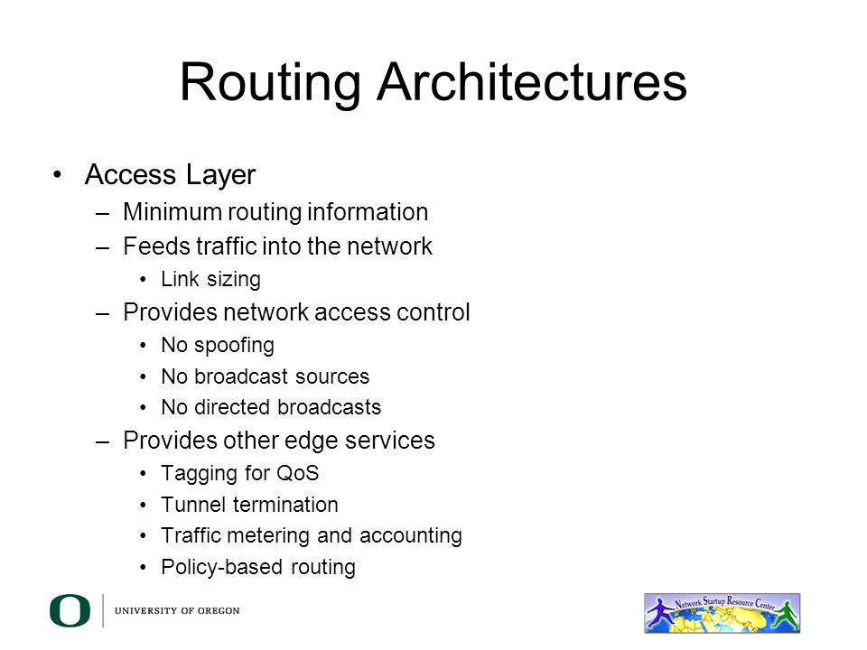 High Availability The concept is very similar –Workstations get configured with a single default gateway –The routers in the segment will negotiate who will provide services to the workstations and keep track of the state of the other routers –In the event of a primary/active router failure, one of the standby routers will take over the task of forwarding traffic for the workstations and become the primary/active –Traffic to the workstations will go to the primary/active router –Incoming traffic into the segment will follow the routing decisions made by routers in the network