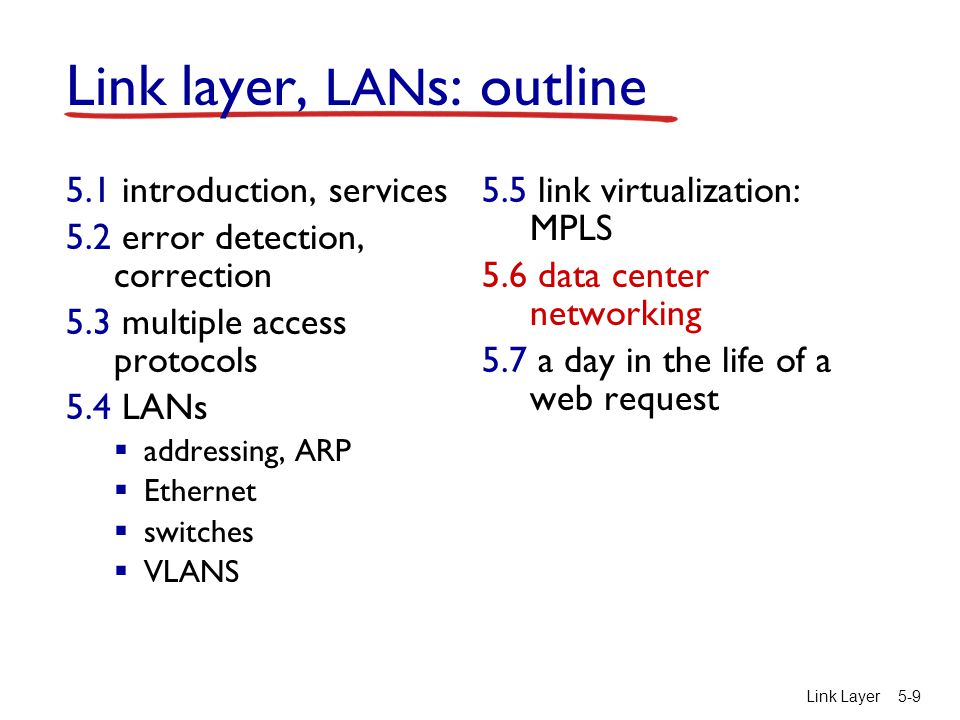 Link Layer5-9 Link layer, LAN s: outline 5.1 introduction, services 5.2 error detection, correction 5.3 multiple access protocols 5.4 LANs  addressing, ARP  Ethernet  switches  VLANS 5.5 link virtualization: MPLS 5.6 data center networking 5.7 a day in the life of a web request