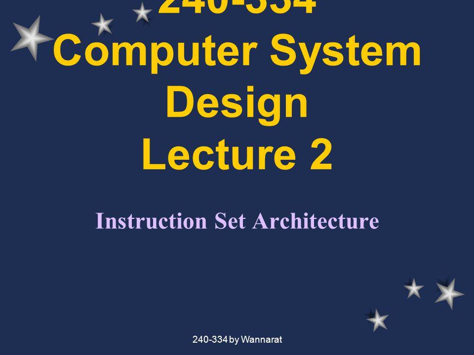 240-334 by Wannarat MIPS Logical Instruction InstructionExampleMeaning 13.ANDand 14.ORor 15.XORxor 16.NORnor 17.andi 18.ori 19.xori 20.shift left logical sll $1,$2,10 21.Srl $1,$2,10