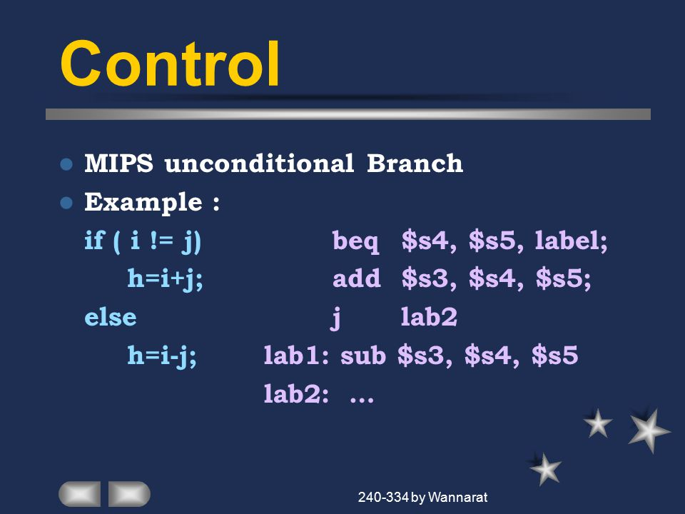 240-334 by Wannarat Control MIPS unconditional Branch Example : if ( i != j)beq$s4, $s5, label; h=i+j;add$s3, $s4, $s5; elsej lab2 h=i-j;lab1: sub $s3, $s4, $s5 lab2: …