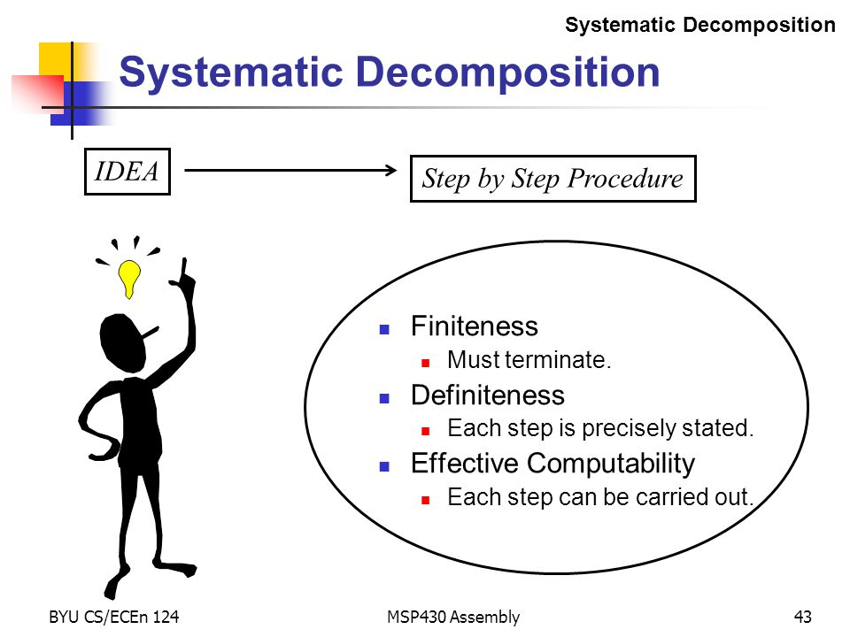 BYU CS/ECEn 124MSP430 Assembly43 Systematic Decomposition Finiteness Must terminate.