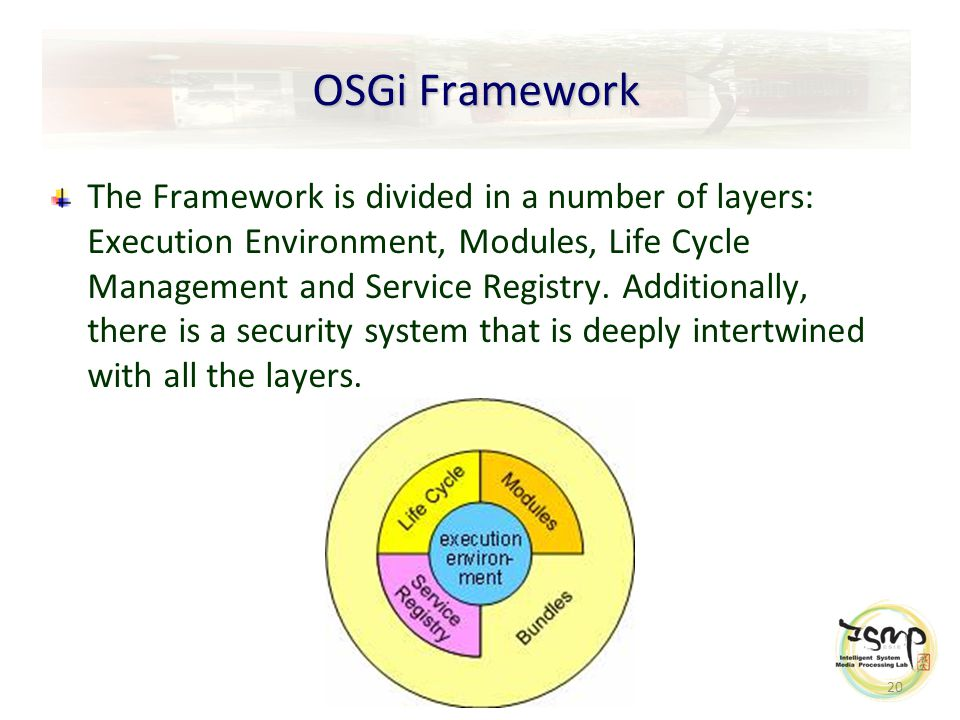 20 OSGi Framework The Framework is divided in a number of layers: Execution Environment, Modules, Life Cycle Management and Service Registry.