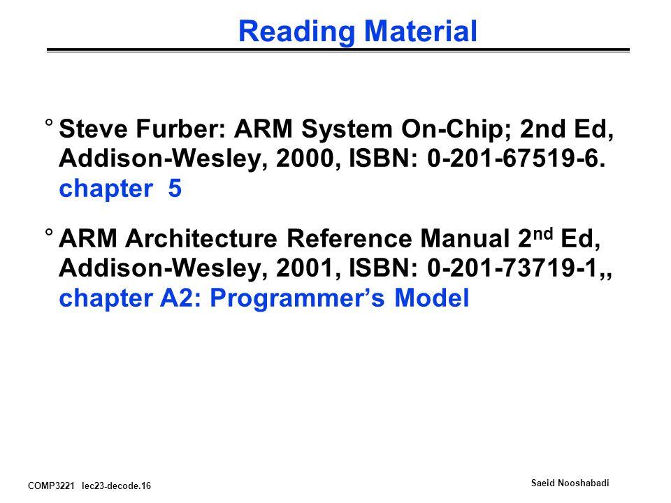 COMP3221 lec23-decode.16 Saeid Nooshabadi Reading Material °Steve Furber: ARM System On-Chip; 2nd Ed, Addison-Wesley, 2000, ISBN: 0-201-67519-6.