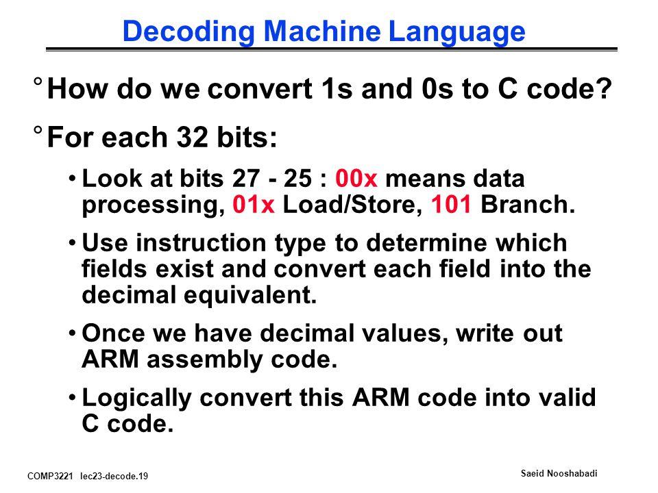 COMP3221 lec23-decode.19 Saeid Nooshabadi Decoding Machine Language °How do we convert 1s and 0s to C code.
