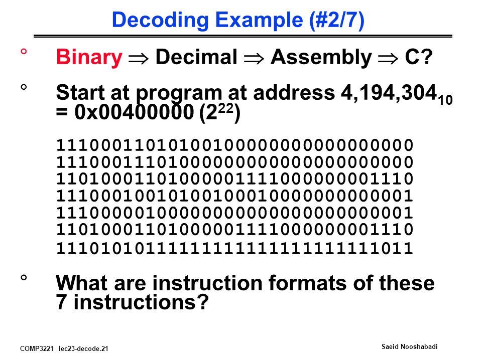 COMP3221 lec23-decode.21 Saeid Nooshabadi Decoding Example (#2/7) °Binary  Decimal  Assembly  C.