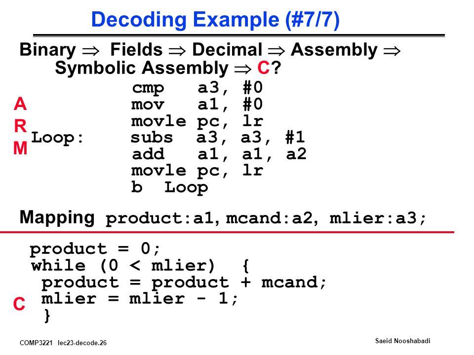 COMP3221 lec23-decode.26 Saeid Nooshabadi Decoding Example (#7/7) Binary  Fields  Decimal  Assembly  Symbolic Assembly  C.