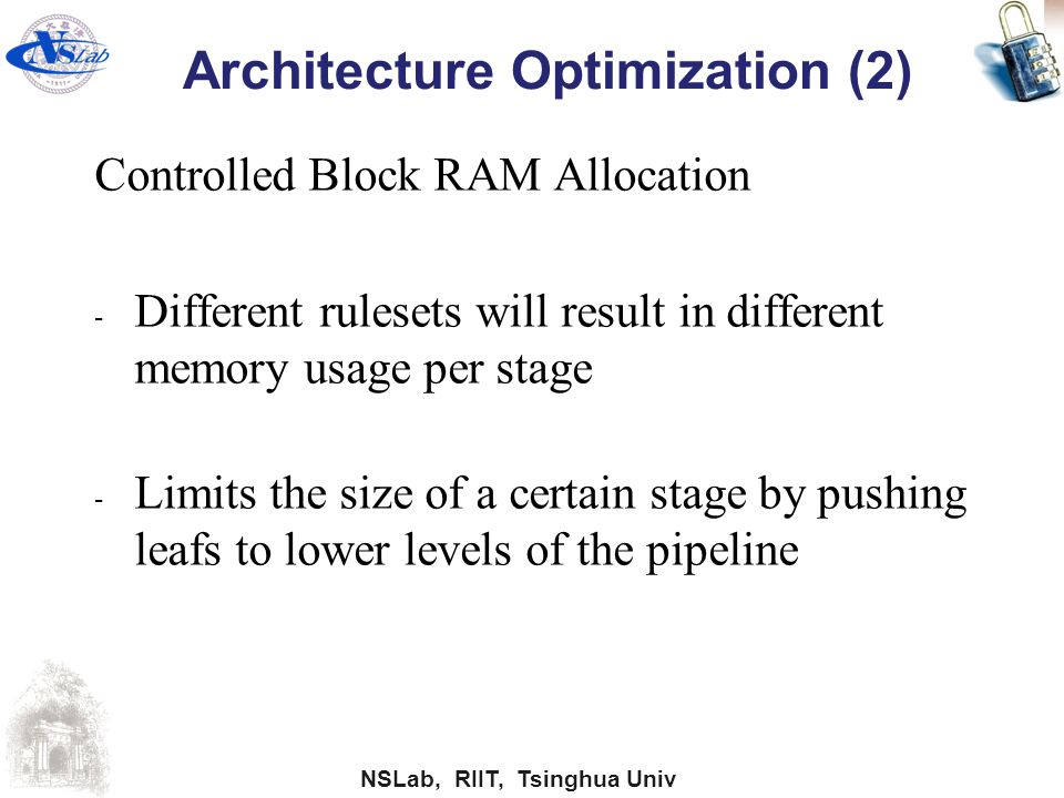 NSLab, RIIT, Tsinghua Univ Architecture Optimization (2) Controlled Block RAM Allocation - Different rulesets will result in different memory usage pe