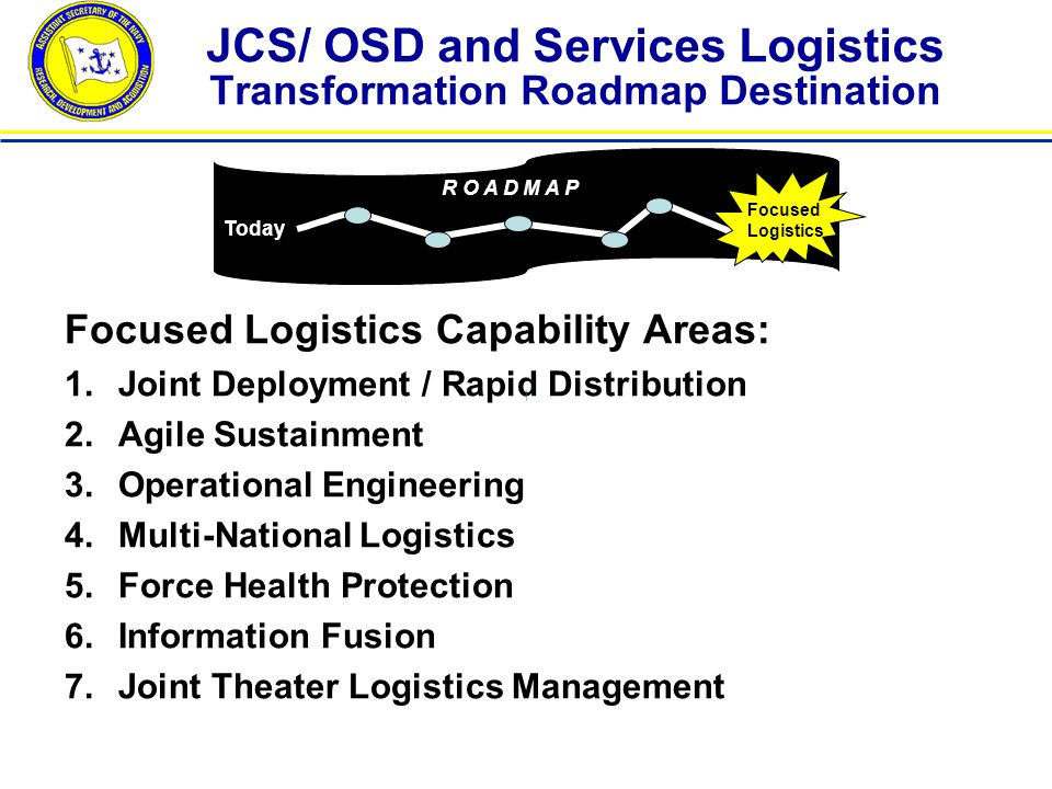 JCS/ OSD and Services Logistics Transformation Roadmap Destination Focused Logistics Capability Areas: 1.Joint Deployment / Rapid Distribution 2.Agile Sustainment 3.Operational Engineering 4.Multi-National Logistics 5.Force Health Protection 6.Information Fusion 7.Joint Theater Logistics Management Today R O A D M A P Focused Logistics |