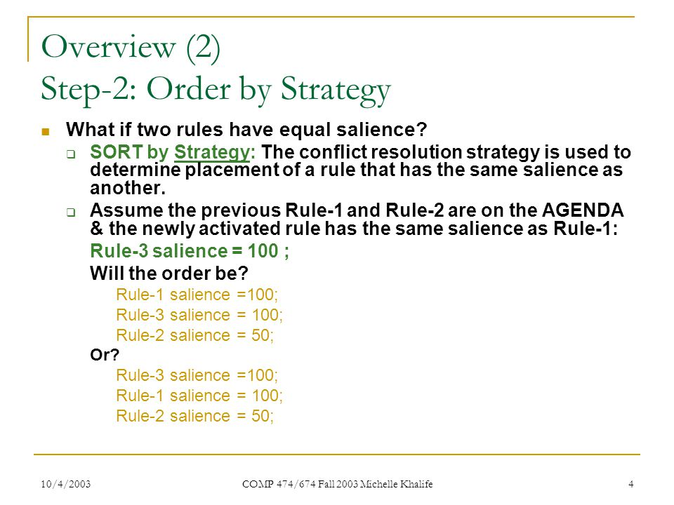 10/4/2003 COMP 474/674 Fall 2003 Michelle Khalife 15 Conclusion Newly activated rules are placed above all rules with lower salience and below all rules with higher salience.