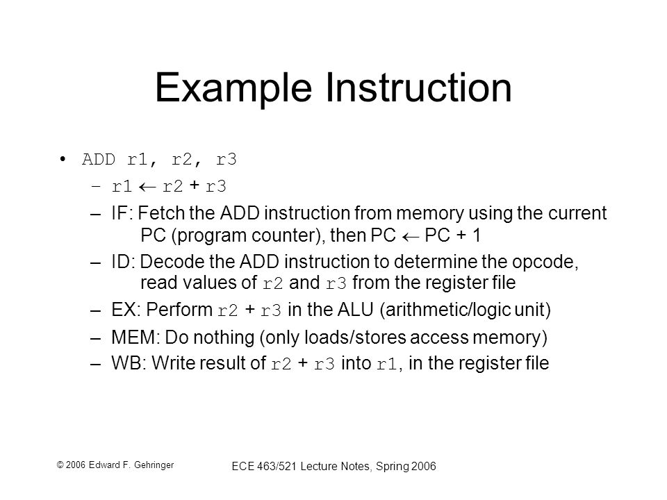 © 2006 Edward F. Gehringer ECE 463/521 Lecture Notes, Spring 2006 Example Instruction ADD r1, r2, r3 –r1  r2 + r3 –IF: Fetch the ADD instruction from