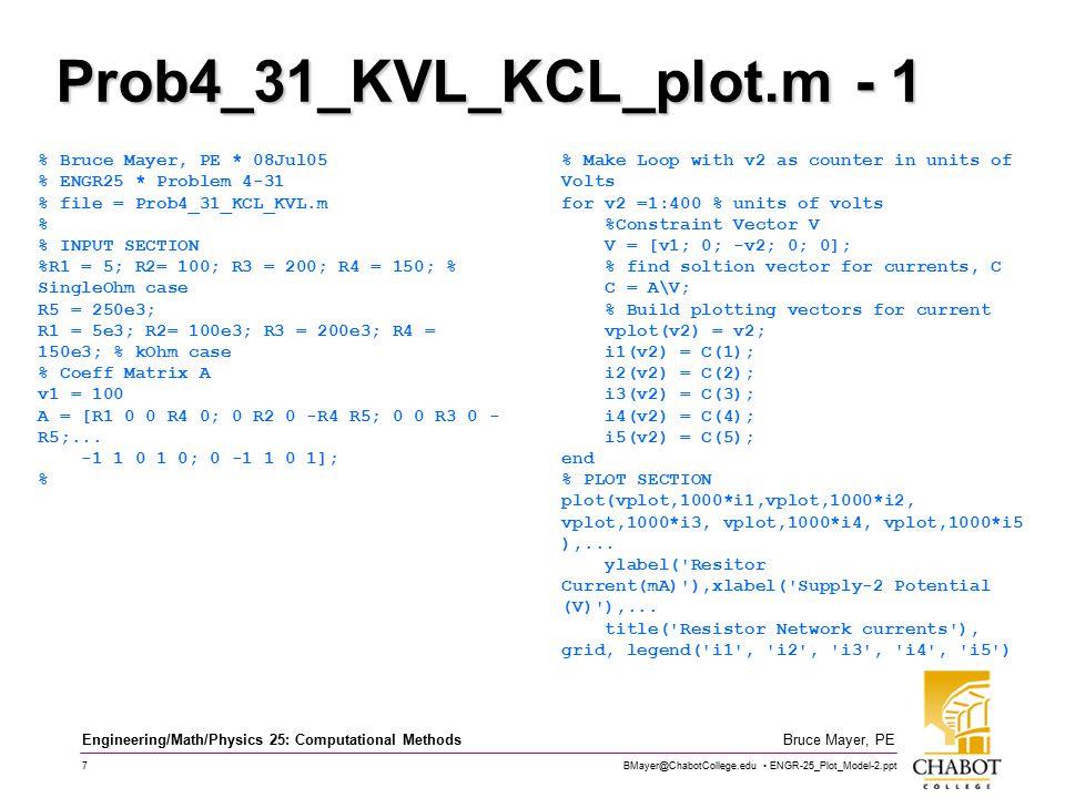 BMayer@ChabotCollege.edu ENGR-25_Plot_Model-2.ppt 7 Bruce Mayer, PE Engineering/Math/Physics 25: Computational Methods Prob4_31_KVL_KCL_plot.m - 1 % Bruce Mayer, PE * 08Jul05 % ENGR25 * Problem 4-31 % file = Prob4_31_KCL_KVL.m % % INPUT SECTION %R1 = 5; R2= 100; R3 = 200; R4 = 150; % SingleOhm case R5 = 250e3; R1 = 5e3; R2= 100e3; R3 = 200e3; R4 = 150e3; % kOhm case % Coeff Matrix A v1 = 100 A = [R1 0 0 R4 0; 0 R2 0 -R4 R5; 0 0 R3 0 - R5;...