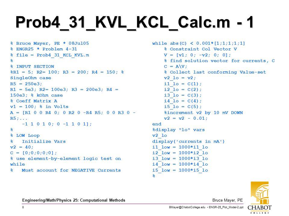 BMayer@ChabotCollege.edu ENGR-25_Plot_Model-2.ppt 8 Bruce Mayer, PE Engineering/Math/Physics 25: Computational Methods Prob4_31_KVL_KCL_Calc.m - 1 % Bruce Mayer, PE * 08Jul05 % ENGR25 * Problem 4-31 % file = Prob4_31_KCL_KVL.m % % INPUT SECTION %R1 = 5; R2= 100; R3 = 200; R4 = 150; % SingleOhm case R5 = 250e3; R1 = 5e3; R2= 100e3; R3 = 200e3; R4 = 150e3; % kOhm case % Coeff Matrix A v1 = 100; % in Volts A = [R1 0 0 R4 0; 0 R2 0 -R4 R5; 0 0 R3 0 - R5;...