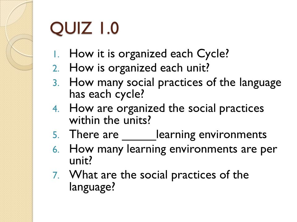 QUIZ 1.0 1. How it is organized each Cycle. 2. How is organized each unit.