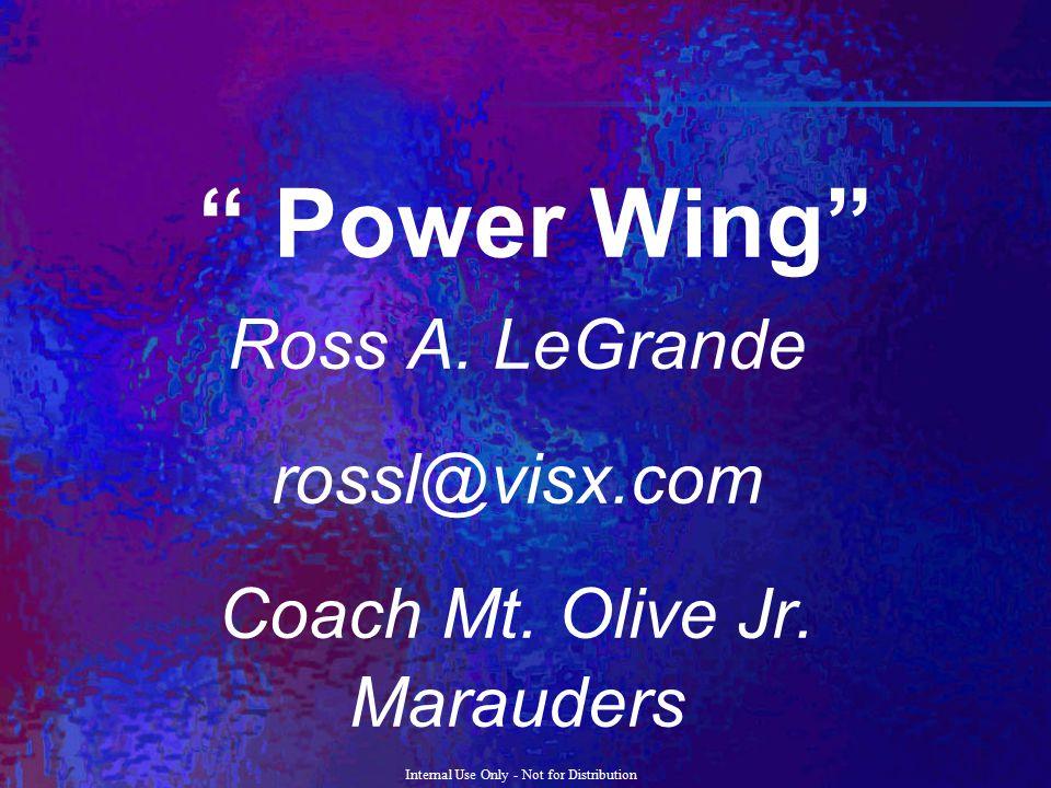 "Internal Use Only - Not for Distribution "" Power Wing"" Ross A. LeGrande rossl@visx.com Coach Mt. Olive Jr. Marauders"