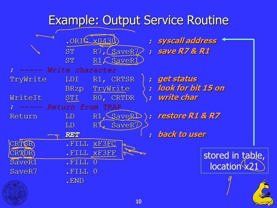 10 Example: Output Service Routine.ORIG x0430; syscall address STR7, SaveR7; save R7 & R1 STR1, SaveR1 ; ----- Write character TryWriteLDIR1, CRTSR; get status BRzpTryWrite; look for bit 15 on WriteItSTIR0, CRTDR; write char ; ----- Return from TRAP ReturnLDR1, SaveR1; restore R1 & R7 LDR7, SaveR7 RET; back to user CRTSR.FILLxF3FC CRTDR.FILLxF3FF SaveR1.FILL0 SaveR7.FILL0.END stored in table, location x21
