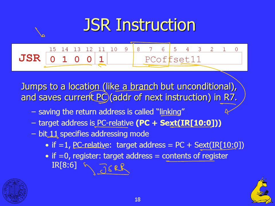 18 JSR Instruction Jumps to a location (like a branch but unconditional), and saves current PC (addr of next instruction) in R7.