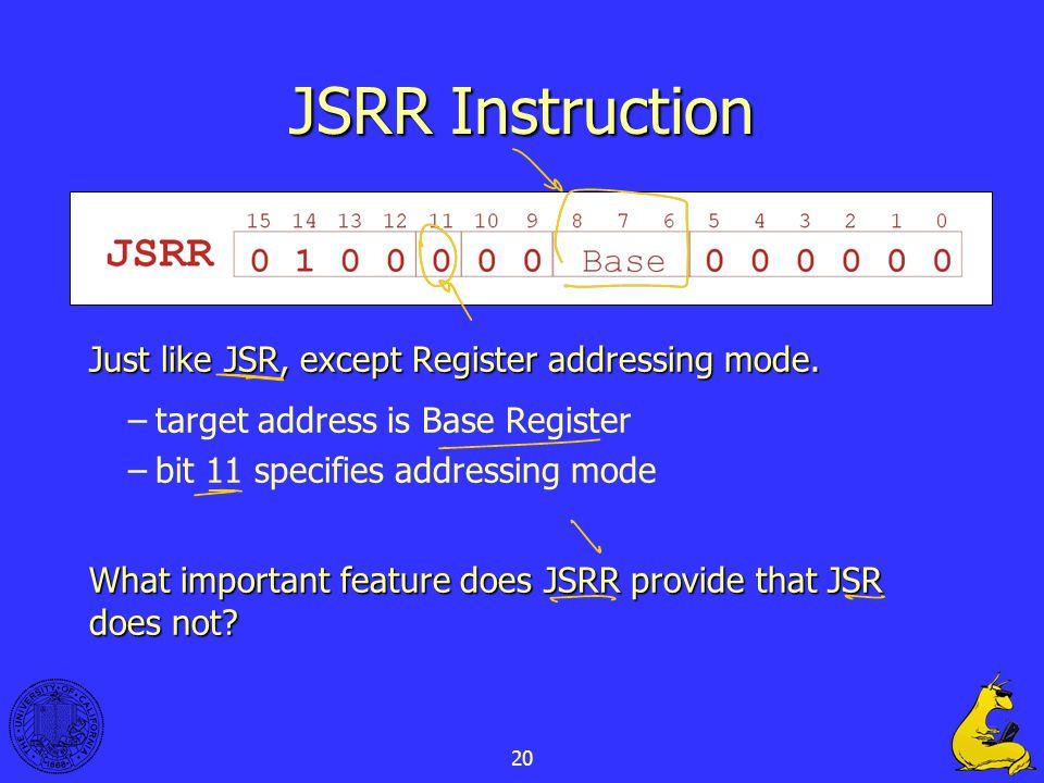 20 JSRR Instruction Just like JSR, except Register addressing mode.