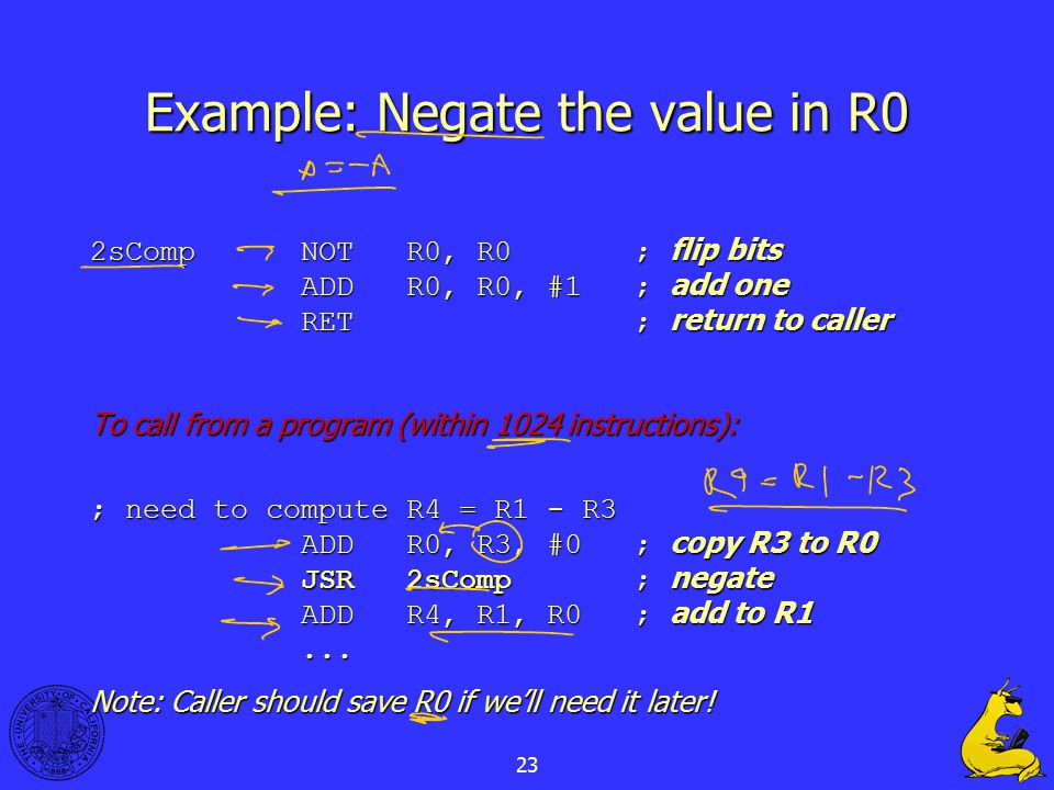 23 Example: Negate the value in R0 2sCompNOTR0, R0 ; flip bits ADDR0, R0, #1 ; add one RET ; return to caller To call from a program (within 1024 inst