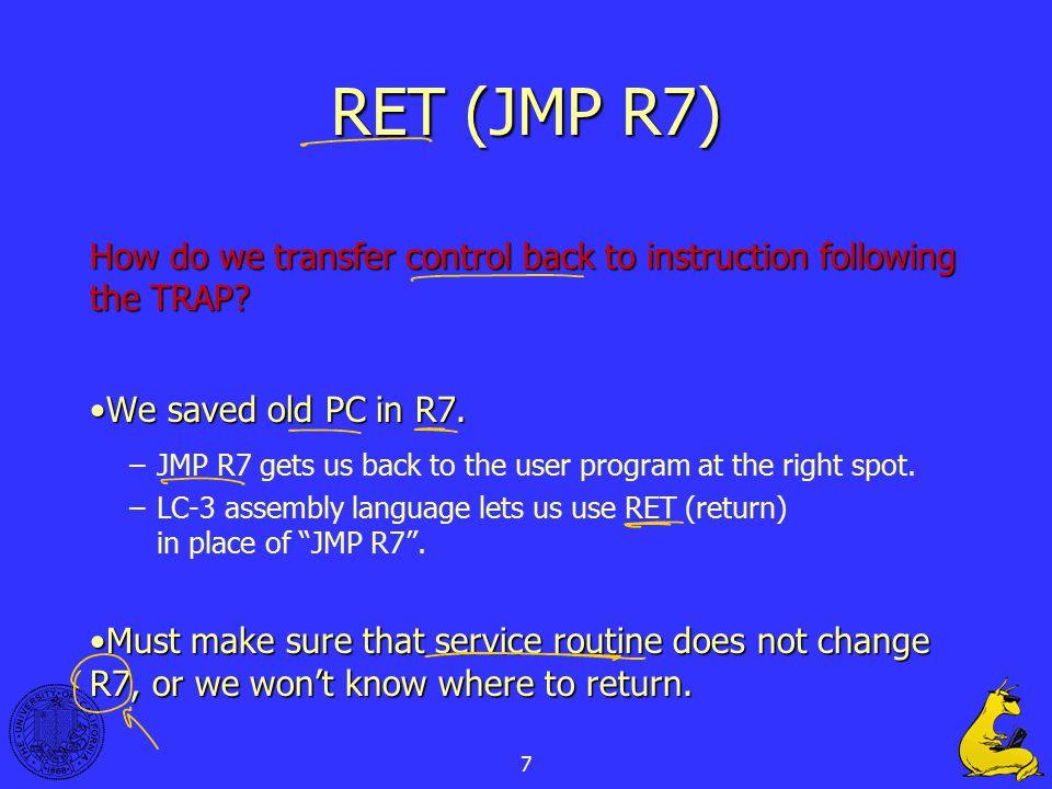 7 RET (JMP R7) How do we transfer control back to instruction following the TRAP? We saved old PC in R7.We saved old PC in R7. –JMP R7 gets us back to
