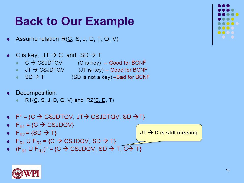 Back to Our Example Assume relation R(C, S, J, D, T, Q, V) C is key, JT  C and SD  T C  CSJDTQV (C is key) -- Good for BCNF JT  CSJDTQV (JT is key) -- Good for BCNF SD  T (SD is not a key) –Bad for BCNF Decomposition: R1(C, S, J, D, Q, V) and R2(S, D, T) F + = {C  CSJDTQV, JT  CSJDTQV, SD  T} F R1 = {C  CSJDQV} F R2 = {SD  T} F R1 U F R2 = {C  CSJDQV, SD  T} (F R1 U F R2 ) + = {C  CSJDQV, SD  T, C  T} 10 JT  C is still missing