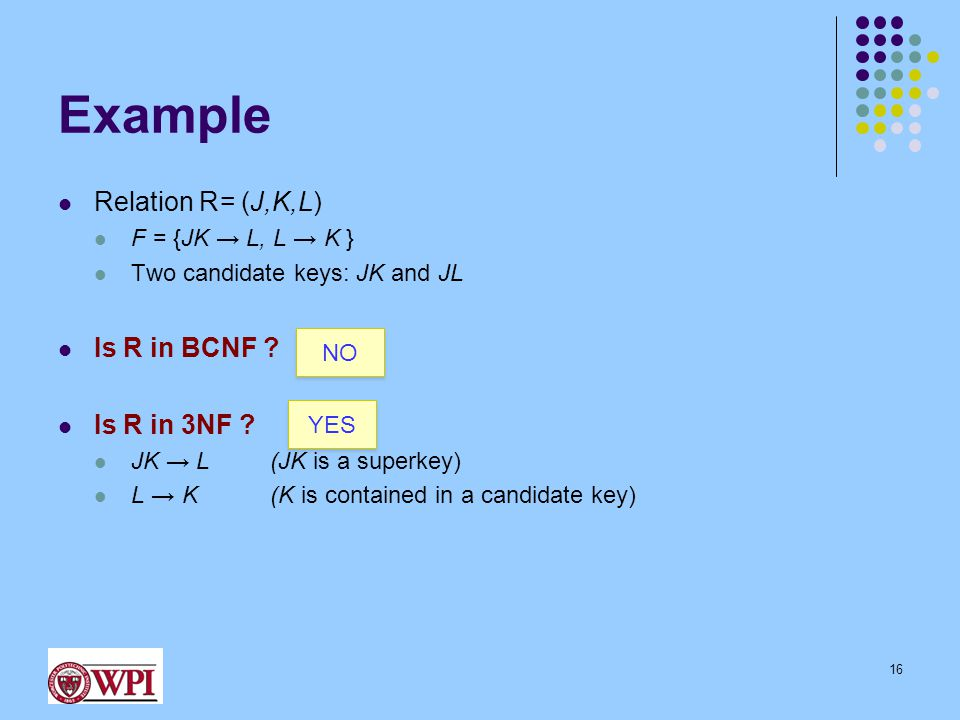 Example Relation R= (J,K,L) F = {JK → L, L → K } Two candidate keys: JK and JL Is R in BCNF .