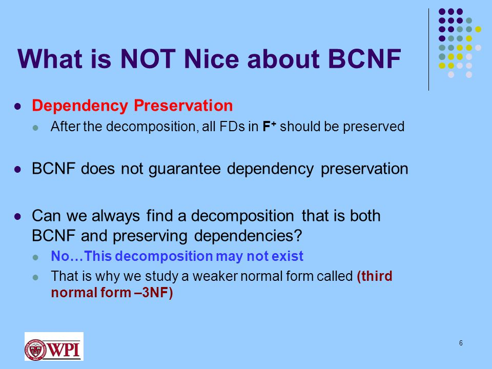 What is NOT Nice about BCNF Dependency Preservation After the decomposition, all FDs in F + should be preserved BCNF does not guarantee dependency preservation Can we always find a decomposition that is both BCNF and preserving dependencies.