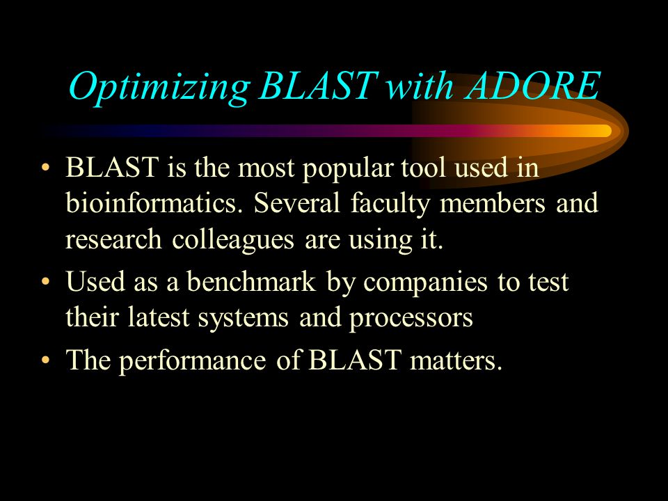Optimizing BLAST with ADORE BLAST is the most popular tool used in bioinformatics.