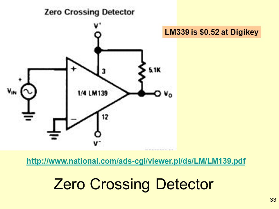 33 Zero Crossing Detector http://www.national.com/ads-cgi/viewer.pl/ds/LM/LM139.pdf LM339 is $0.52 at Digikey