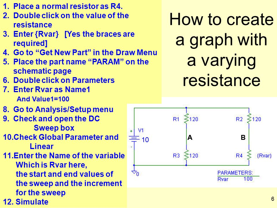 6 How to create a graph with a varying resistance AAB 1.Place a normal resistor as R4. 2.Double click on the value of the resistance 3.Enter {Rvar} [Y