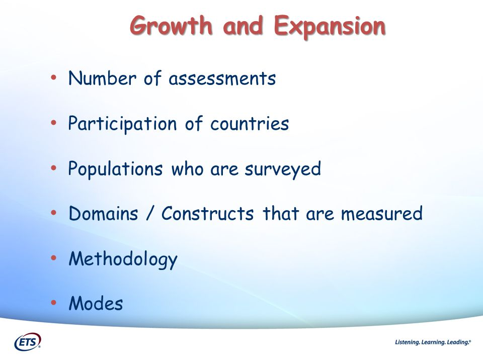 Number of assessments Participation of countries Populations who are surveyed Domains / Constructs that are measured Methodology Modes Growth and Expa