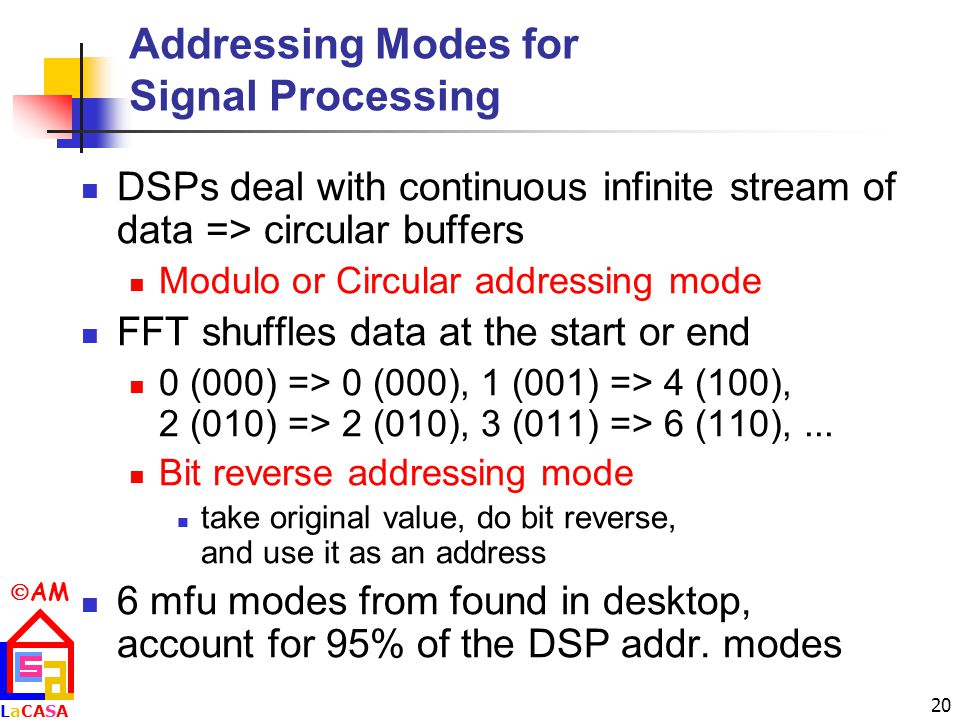  AM LaCASALaCASA 20 Addressing Modes for Signal Processing DSPs deal with continuous infinite stream of data => circular buffers Modulo or Circular addressing mode FFT shuffles data at the start or end 0 (000) => 0 (000), 1 (001) => 4 (100), 2 (010) => 2 (010), 3 (011) => 6 (110),...