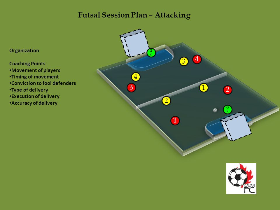 Futsal Session Plan – Attacking Organization Coaching Points Movement of players Timing of movement Conviction to fool defenders Type of delivery Exec