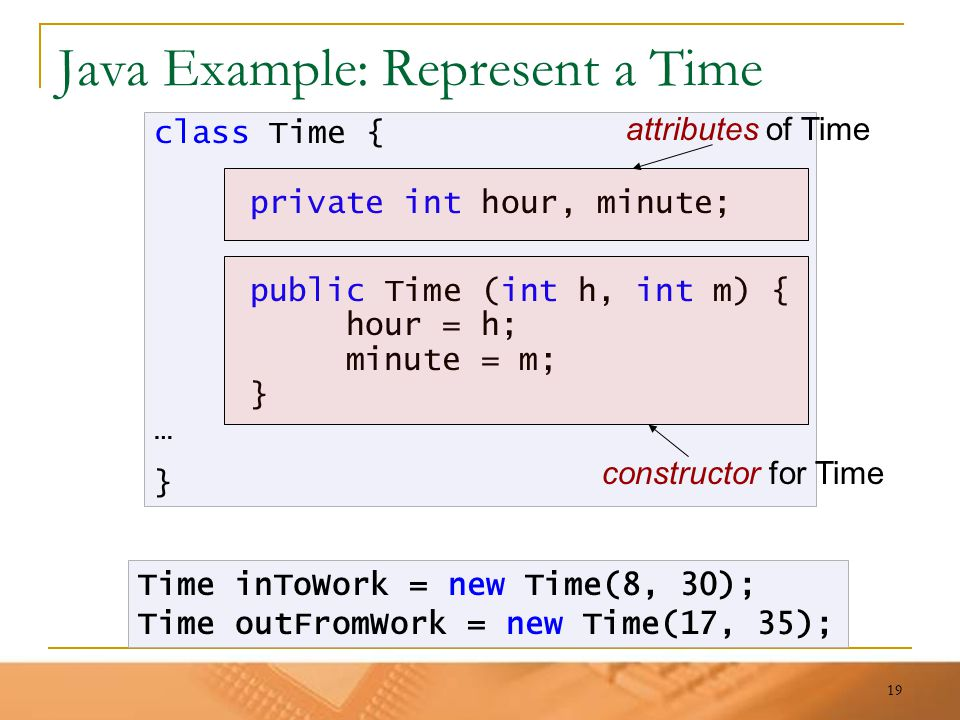 19 Java Example: Represent a Time class Time { private int hour, minute; public Time (int h, int m) { hour = h; minute = m; } … } Time inToWork = new